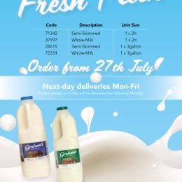 NEW – milk now available