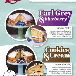 New Earl Grey & Blueberry and Cookies & Cream cakes